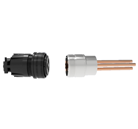3 Pin, 120 Amp Circular Connector, 1.25kV, Copper with Silver Plating on Air Side, Weld in With Plug