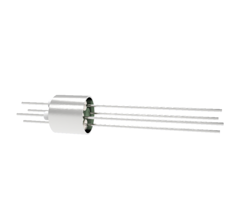 4 Pin, 0.032 Inch Diameter Nickel Conductors, 2kV, 5 Amp, 0.5 Inch Weld in feedthrough