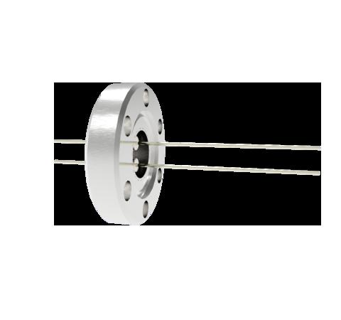 2 Pin, 0.032 Inch Diameter Nickel Conductors, 2kV, 5 Amp Feedthrough on CF1.33 Conflat Flange