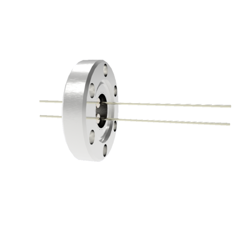 2 Pin, 0.032 Inch Diameter Stainless Steel Conductors, 2kV, 1.1 Amp Feedthrough on CF1.33 flange