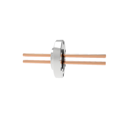 8kV Copper Tube Feedthrough, 0.250 Inch Conductor Diameter, 2 Pin on CF2.75 Conflat Flange