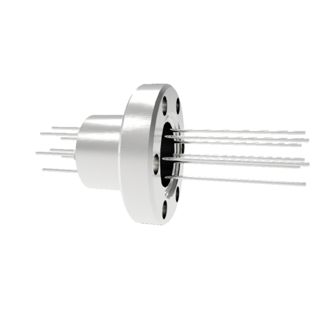 8 Pin, 1.5kV, 1.1 Amp, Stainless Steel feedthrough 0.032 Inch Diameter Conductors in a CF1.33 Flange