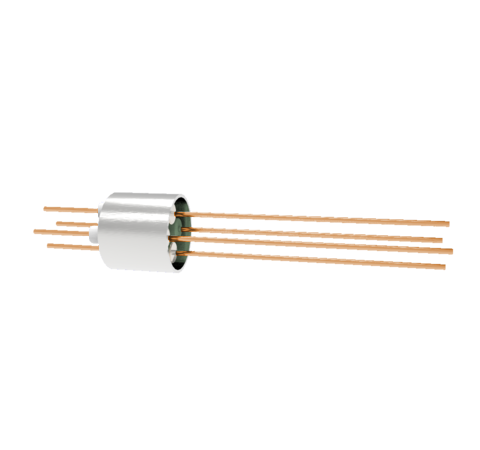 4 Pin, 0.032 Inch Diameter Copper Conductors, 2kV, 16 Amp, 0.5 Inch Weld in feedthrough