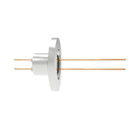 2 Pin, 0.032 Inch Diameter Copper Conductors, 2kV, 16 Amp Feedthrough on ISO KF16 Quick Flange