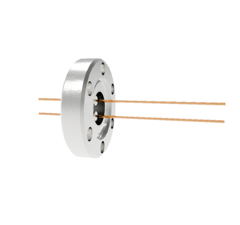 2 Pin, 0.032 Inch Diameter Copper Conductors, 2kV, 16 Amp Feedthrough on CF1.33 Conflat Flange