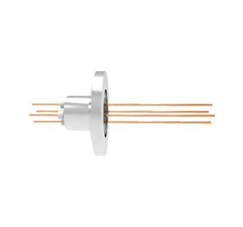 4 Pin, 0.032 Inch Diameter Copper Conductors, 2kV, 16 Amp Feedthrough on ISO KF16 Quick Flange