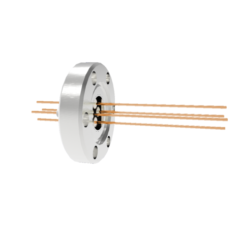 4 Pin, 0.032 Inch Diameter Copper Conductors, 2kV, 16 Amp Feedthrough on CF1.33 Conflat Flange