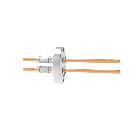12kV Copper Tube Feedthrough, 0.250 Inch Conductor Diameter, 2 Pin on Conflat CF2.75 Flange