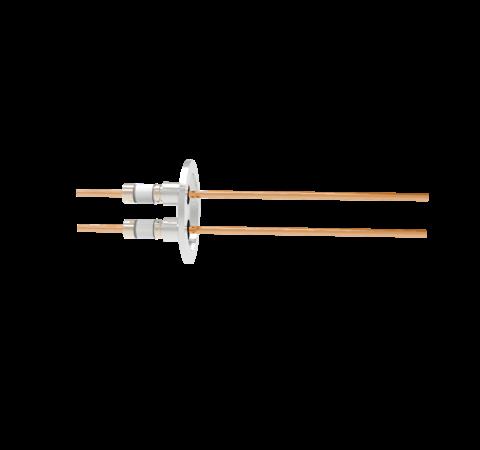 0.154 Conductor Diameter 2 Pin 5kV 100 Amp Copper Conductor in a KF40