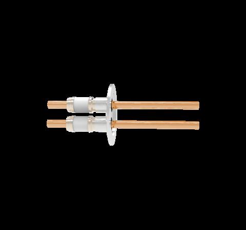 0.375 Conductor Diameter 2 Pin 8kV 330 Amp Copper Conductor in a KF50