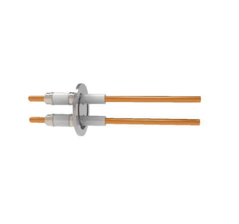 0.250 Conductor Diameter 2 Pin 25kV 100 Amp Copper Conductor Ceramic Extension on Vacuum Side in a KF40