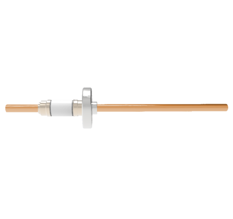 12kV Copper Tube Feedthrough, 0.250 Inch Conductor Diameter, 1 Pin on CF1.33 Conflat Flange