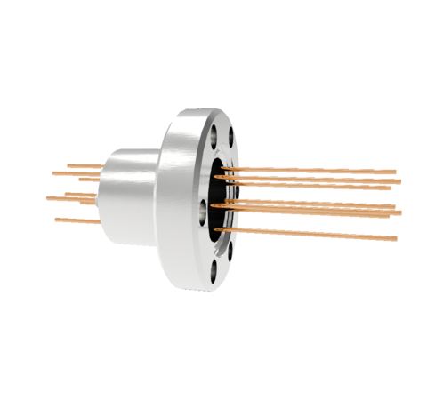 8 Pin, 1.5kV, 16 Amp, Copper Feedthrough, 0.032 Inch Diameter Conductors in a CF1.33 Conflat Flange