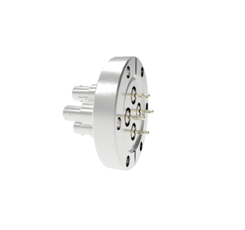 SHV Grounded Shield Exposed 5kV 10 Amp 0.094 Nickel Conductor 4 each in a CF2.75 Flange With Plug
