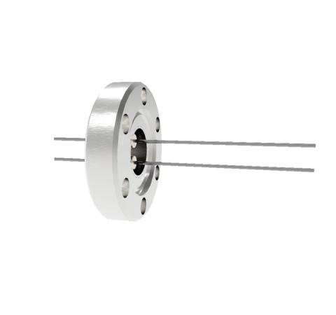 2 Pin, 0.032 Inch Diameter Molybdenum Conductors, 2kV, 8.5 Amp Feedthrough on CF1.33 Conflat Flange