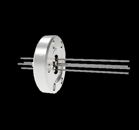 4 Pin, 0.032 Inch Diameter Molybdenum Conductors, 2kV, 8.5 Amp Feedthrough on CF1.33 Conflat Flange