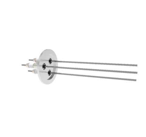 0.094 Conductor Diameter 3 Pin 10kV 28 Amp Molybdenum Conductor in a KF40