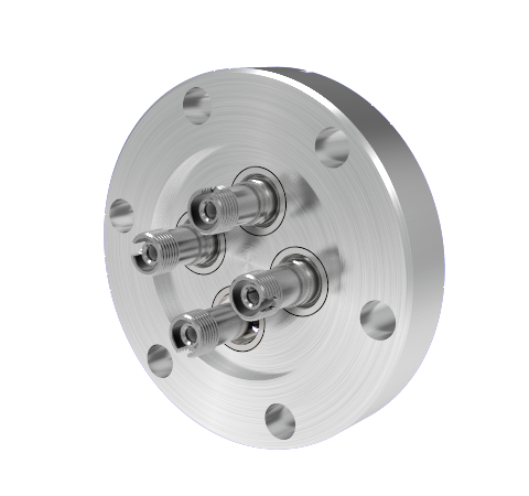 Four Fiber Optic Feedthroughs, Multimode, Hermetic, ST-FC Adapters, in a CF2.75 Conflat Flange