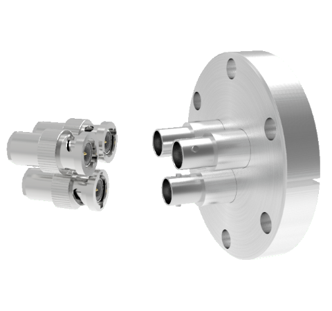 BNC Grounded Shield Recessed 500V 3.6 Amp 0.094 304 Stn. Stl. Conductor 3 each CF2.75 With Plug