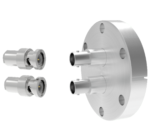 BNC Grounded Shield Recessed 500V 3.6 Amp 0.094 304 Stn. Stl. Conductor 2 each CF2.75 With Plug