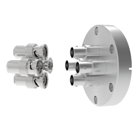 BNC Grounded Shield Recessed 500V 3.6 Amp 0.094 304 Stn. Stl. Conductor 4 each CF2.75 With Plug