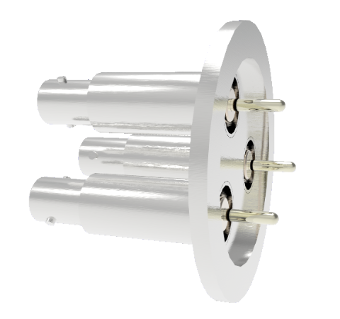 SHV Grounded Shield Recessed 5kV 10 Amp 0.094 Nickel Conductor 3 each in a KF40 Flange Without Plug
