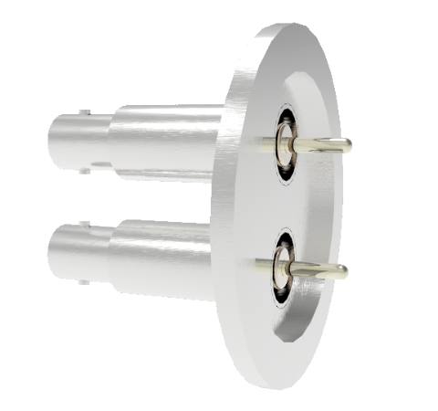 SHV Grounded Shield Recessed 5kV 10 Amp 0.094 Nickel Conductor 2 each in a KF40 Flange Without Plug
