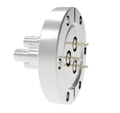 SHV Grounded Shield Recessed 5kV 10 Amp 0.094 Nickel Conductor 3 each CF2.75 Flange Without Plug