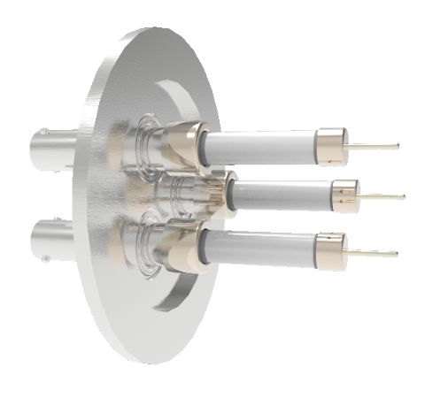 SHV Grounded Shield Exposed 10kV 8.2 Amp 0.051 Nickel Conductor 3 each in a KF50 Flange Without Plug