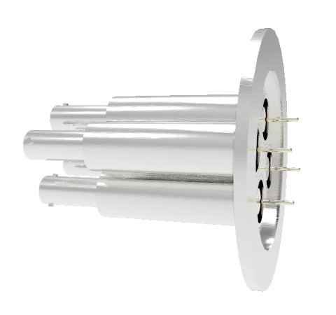 SHV Grounded Shield Recessed 10kV 8.2 Amp 0.051 Nickel Conductor 4 each KF50 Flange Without Plug