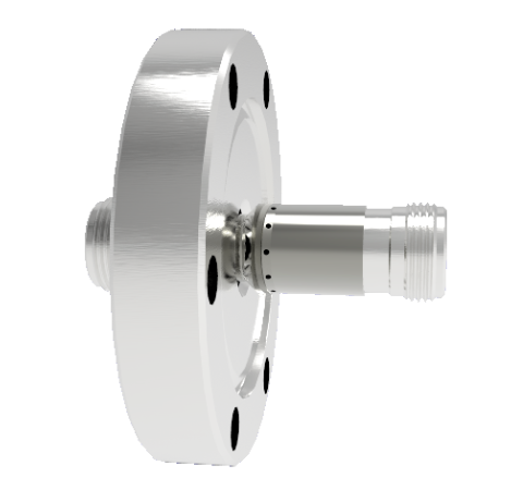 Type N  50 Ohm Grounded Shield Recessed Double Ended 1.5kV 5 Amp CF2.75 Flange Without Plug