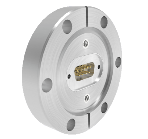 9 Pin Sub D 24308 Series 500V, 5 Amp, With 2 Each 50 Ohm SMP connectors in CF2.75 Conflat Flange