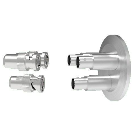 MHV Grounded Shield Recessed 5kV 3.6 Amp 0.094 304 Stn. Stl. Conductor 3 each KF40 Flange With Plug