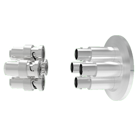 MHV Grounded Shield Recessed 5kV 3.6 Amp 0.094 304 Stn. Stl. Conductor 4 each KF40 Flange With Plug