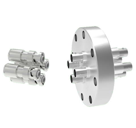 MHV Grounded Shield Recessed 5kV 3.6 Amp 4 each in a CF3.375 Flange With Plug