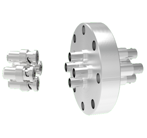 BNC Grounded Shield Recessed 500V 3.6 Amp 4 each in a CF3.375 Flange With Plug