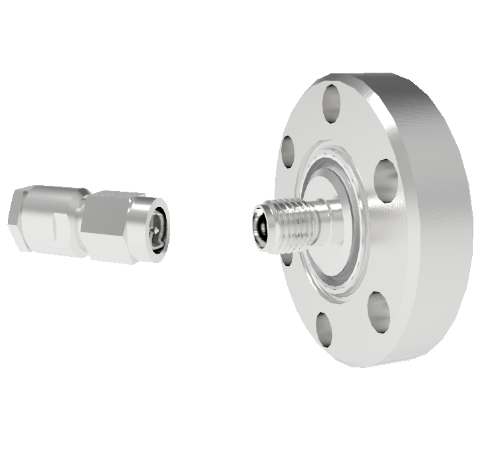 SMA 50 Ohm Grounded Shield Recessed 500V 0.8 Amp 0.040 330 Stn Stl Conductor CF1.33 Flange With Plug