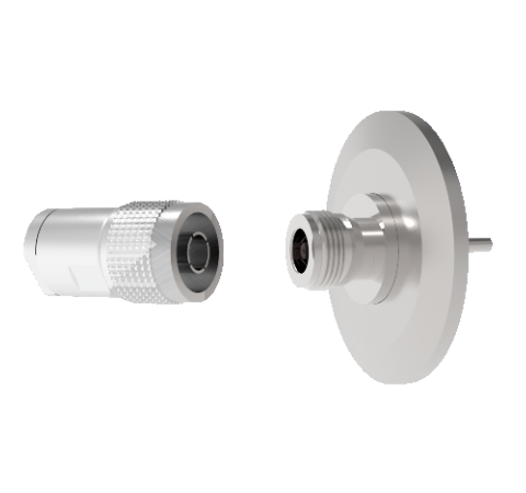 Type N  50 Ohm Grounded Shield Recessed 1.5kV 1 Amp KF40 Flange With Plug