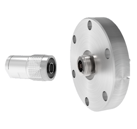 Type N  50 Ohm Grounded Shield Recessed 1.5kV 1 Amp CF2.75 Flange With Plug