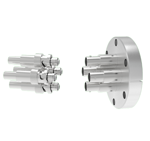 SHV Grounded Shield Recessed 5kV 10 Amp 0.094 Nickel Conductor 4 each in a KF40 Flange With Plug