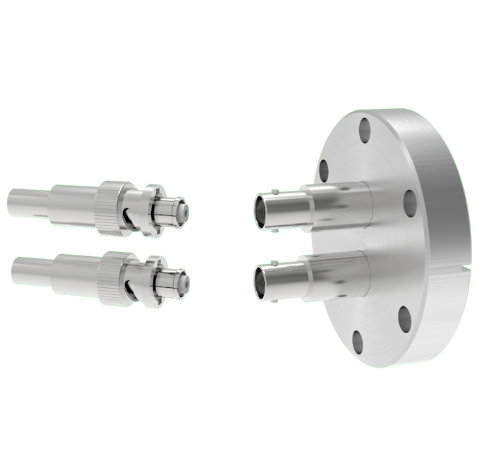 SHV Grounded Shield Recessed 5kV 10 Amp 0.094 Nickel Conductor 2 each in a CF2.75 Flange With Plug