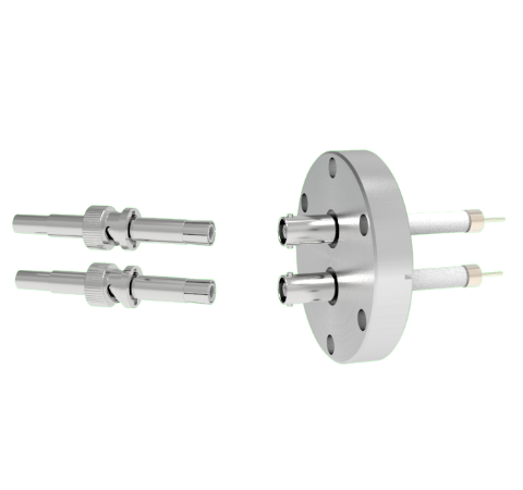 SHV Grounded Shield Exposed 10kV 8.2 Amp 0.051 Nickel Conductor 2 each in a CF2.75 Flange With Plug