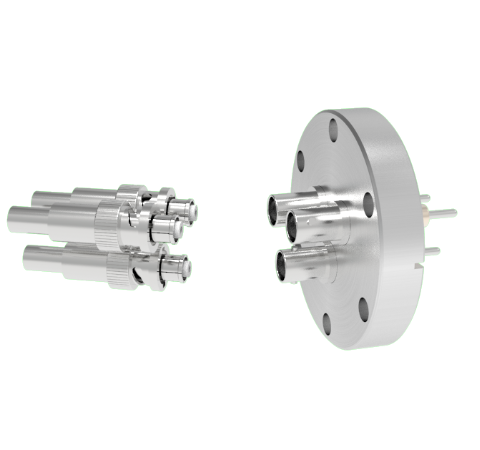 SHV Grounded Shield Exposed 5kV 10 Amp 0.094 Nickel Conductor 3 each in a CF2.75 Flange With Plug