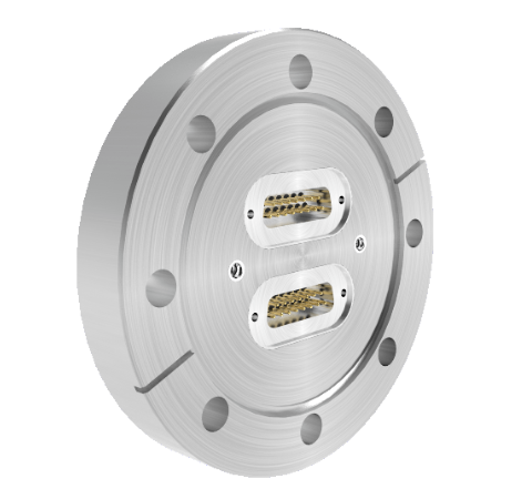 15 Pin Sub D 24308 Series 500V, 5 Amp, With 2 each 50 Ohm SMP Connectors in CF4.5 Conflat Flange