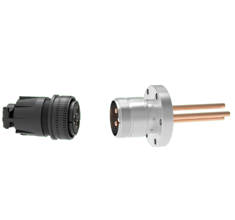 3 Pin, 120 Amp Circular Connector, 1.25kV Copper with Silver Plating Air Side in a CF2.75 With Plug