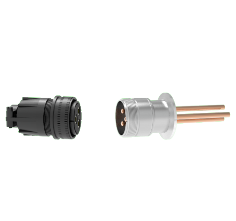 3 Pin, 120 Amp Circular Connector, 1.25kV Copper with Silver Plating on Air Side in a KF40 With Plug