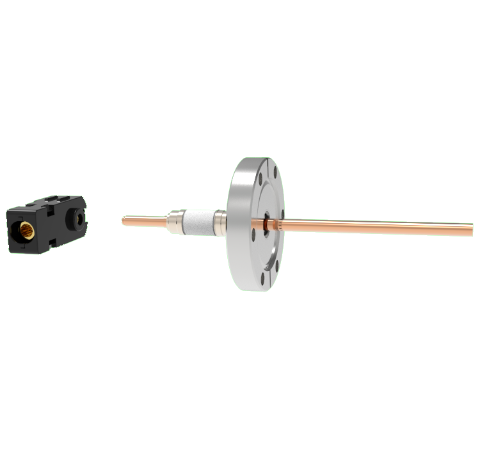1 Pin Quick Connect, 2.5kV, 125 Amp, 0.250 Copper, Silver Plating Air Side, CF2.75 Conflat With Plug
