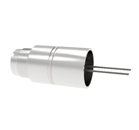 2 Pin, 12kV, 13 Amp Feedthrough, 0.062 Inch Diameter Molybdenum Conductors, Weld in, Without Plug