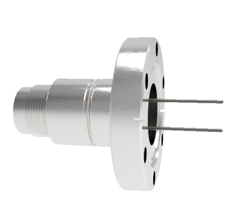 2 Pin, 12kV, 13 Amp Feedthrough, .062 Inch Diameter Molybdenum Conductors, CF2.75, Without Plug