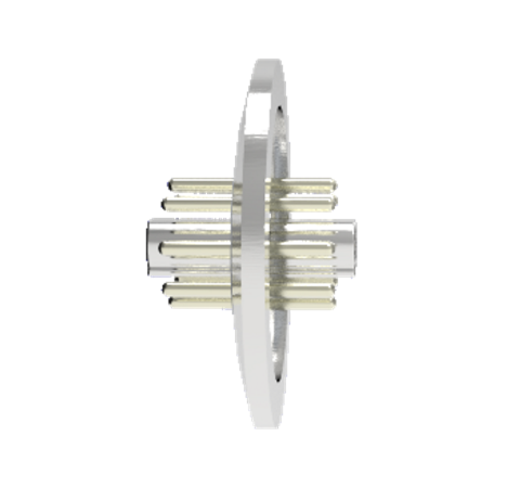 OCTAL CONNECTOR, 8 PIN, 350V, 5AMP, ALUMEL CONDUCTORS FEEDTHROUGH IN KF40 QUICK FLANGE WITHOUT PLUGS